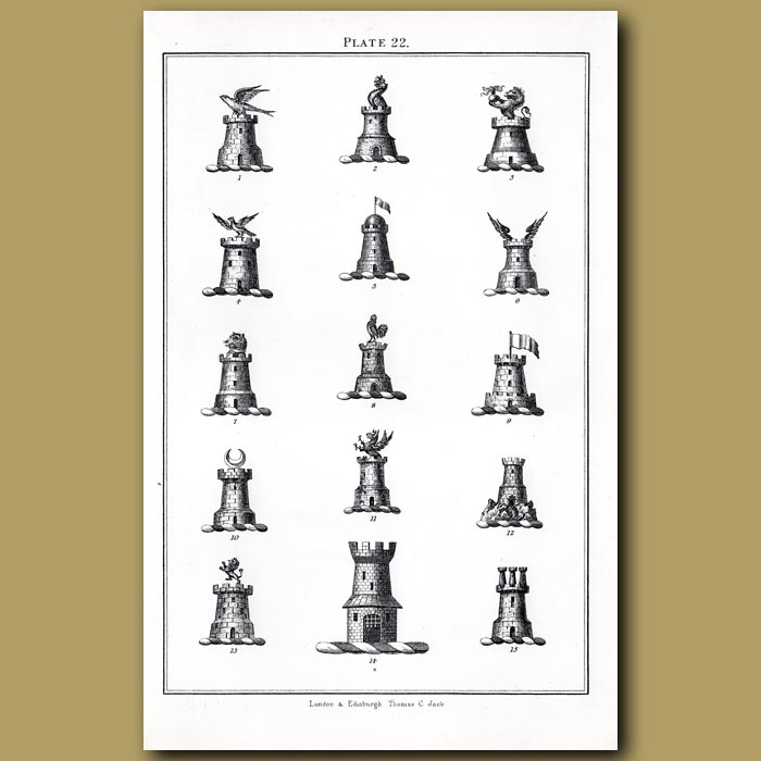 Towers: Genuine antique print for sale.