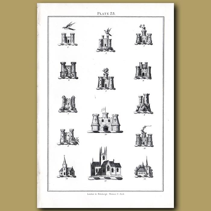 Castles: Genuine antique print for sale.
