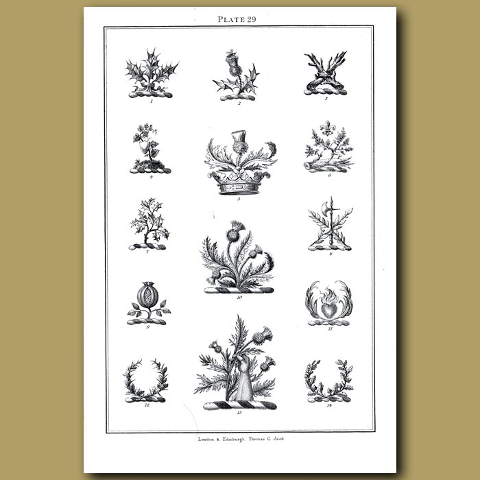 Thistles, Crowns, Pomegranate, Flaming Heart and Palms: Genuine antique print for sale.