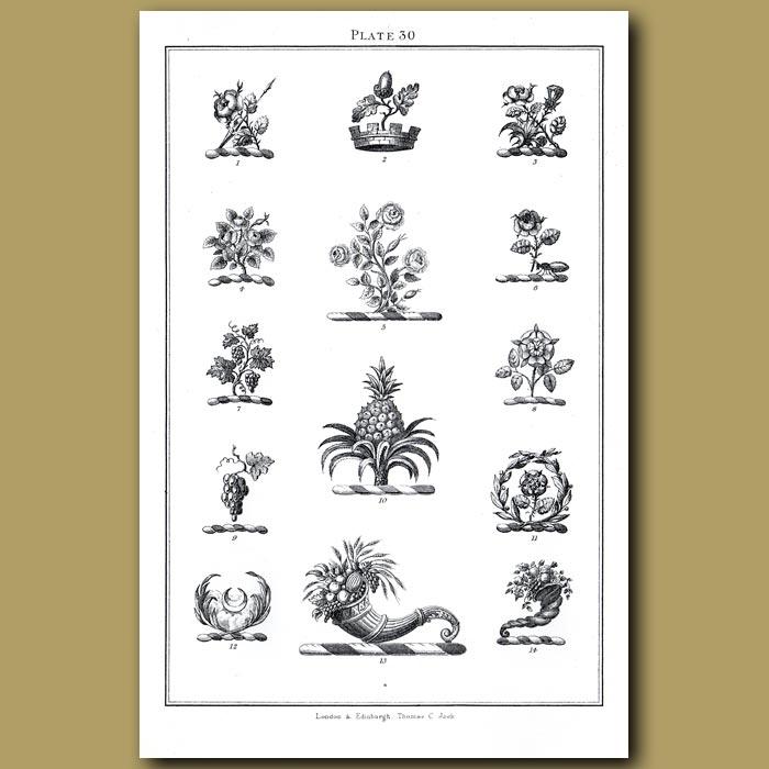 Roses, Acorn, Pineapple, Grapes, Horn of Plenty: Genuine antique print for sale.