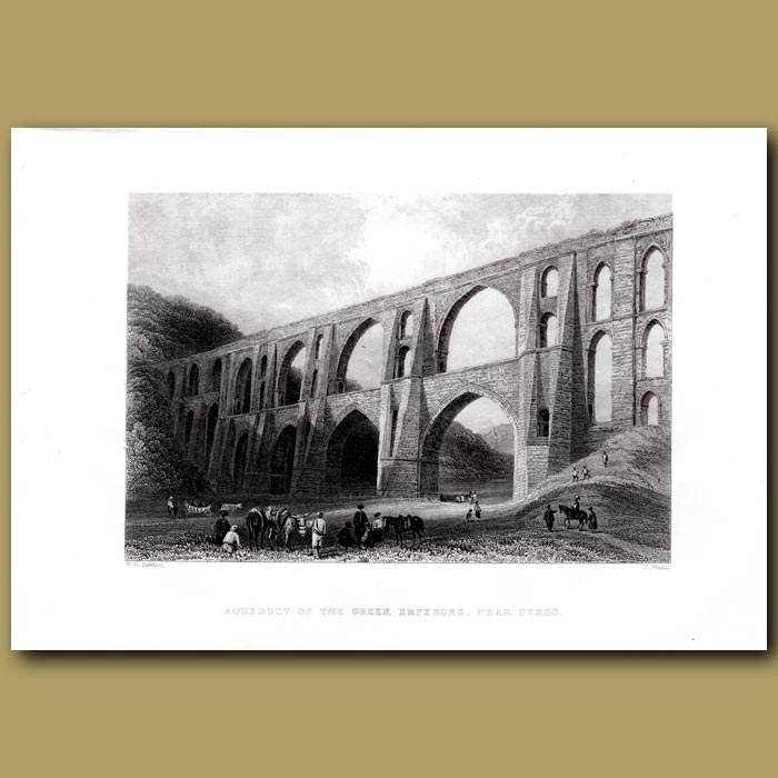 Antique print. Aqueduct Of The Greek Heroes Near Pyrgo
