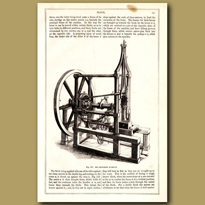 Antique print. The Mortising Machine
