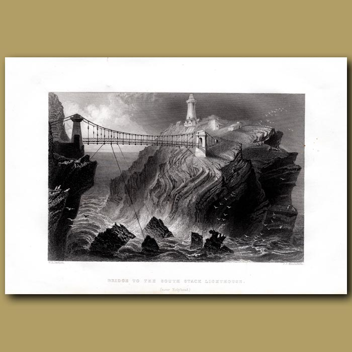 Antique print. Bridge To The South Stack Lighthouse, Near Holyhead