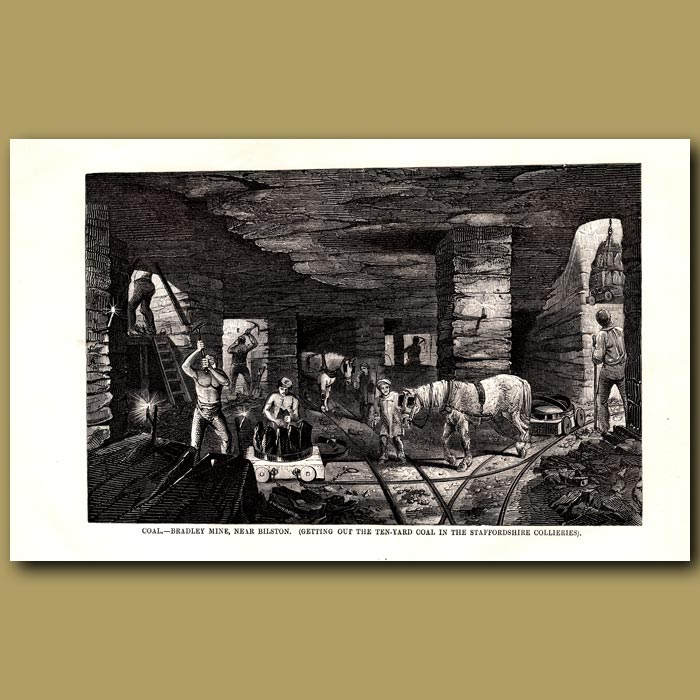 Antique print. Coal. Bradley Mine, Near Bilston