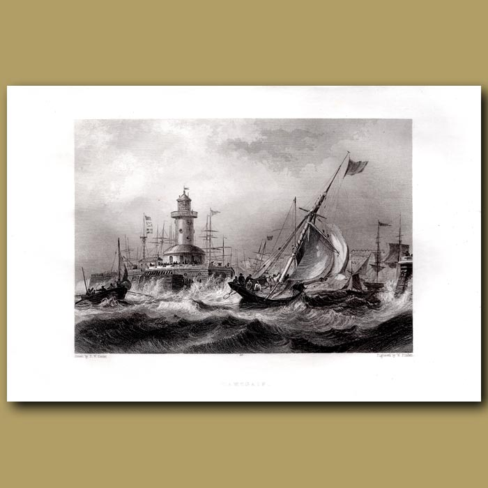 Antique print. Ramsgate Harbour