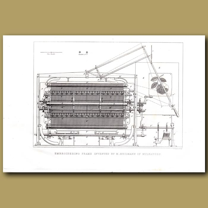 Antique print. Embroidering Machine