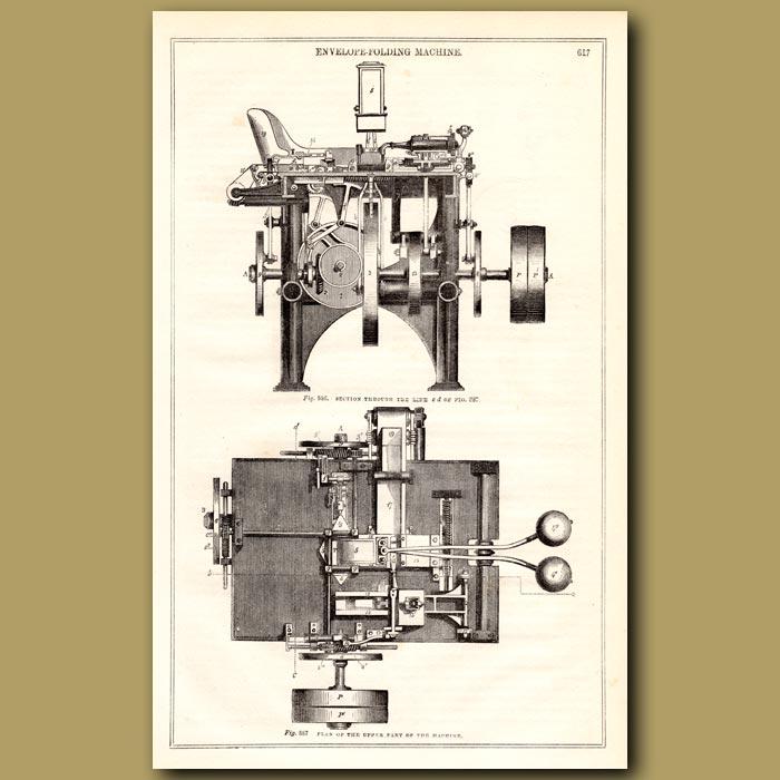 Antique print. Envelope Folding Machine