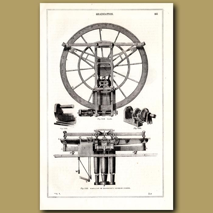 Antique print. Graduation. Thoughton's Dividing Machine