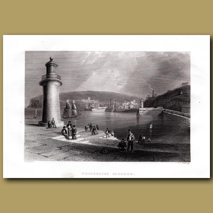 Antique print. Whitehaven Harbour