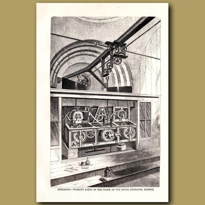 Antique print. Horology. Working Parts Of Clock At Royal Exchange, London