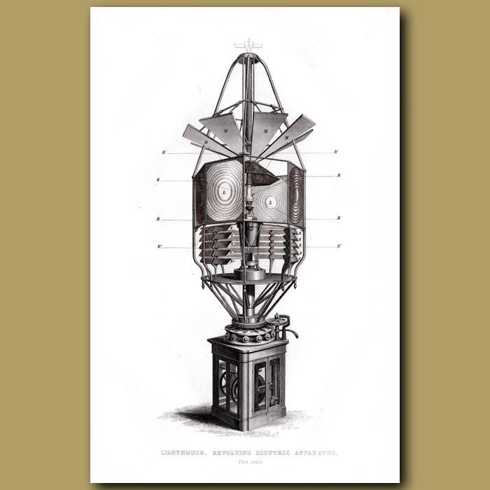 Antique print. Lighthouse. Revolving Dioptric Apparatus