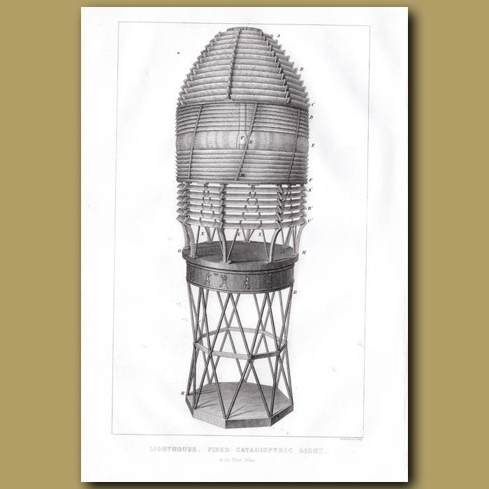 Antique print. Lighthouse. Revolving Catadioptric Apparatus