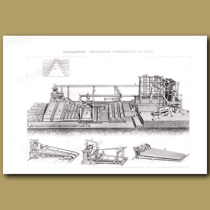 Antique print. Metallurgy. Mechanical Preparation Of Ores