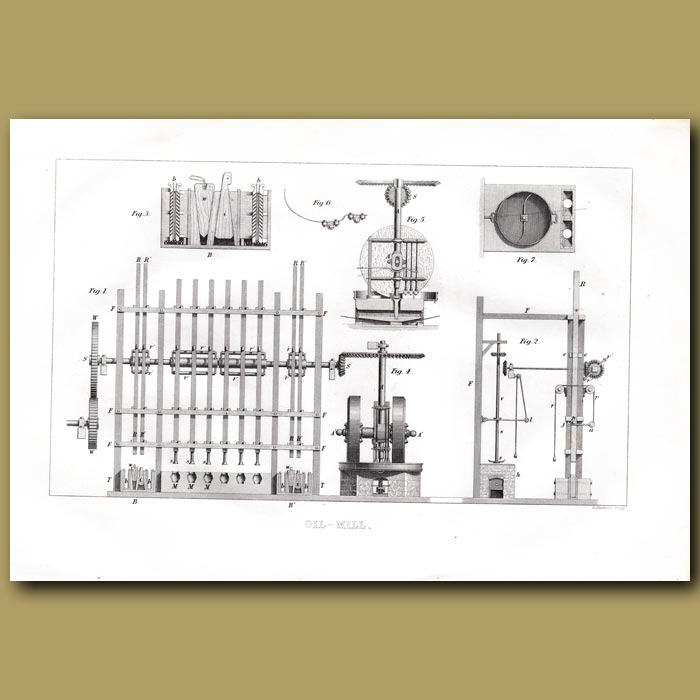 Antique print. Oil Mill