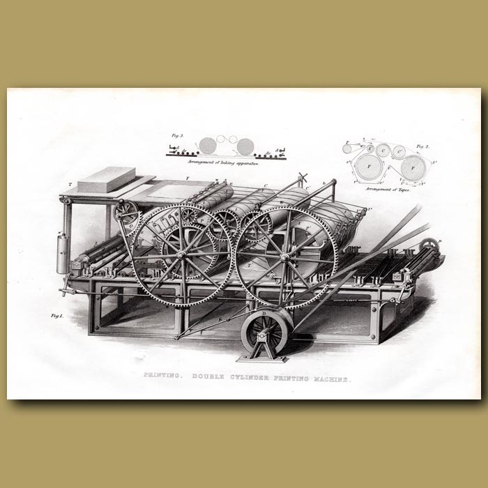 Antique print. Printing. Double Cylinder Printing Machine