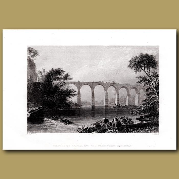 Antique print. Viaduct Of Baltimore And Washington Railroad