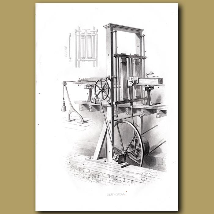 Antique print. Saw Mill