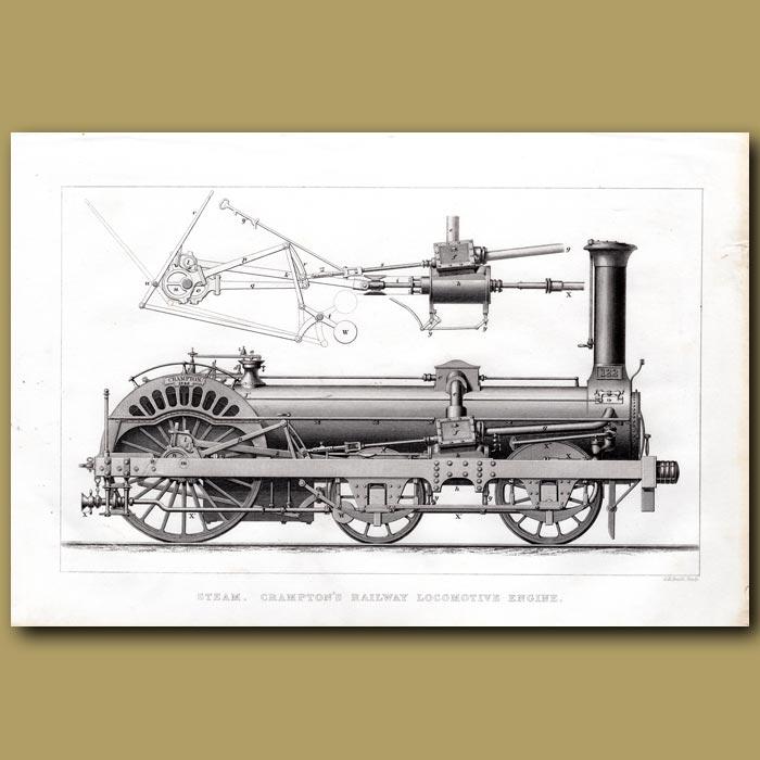 Antique print. Steam. Crampton's Railway Locomotive Engine