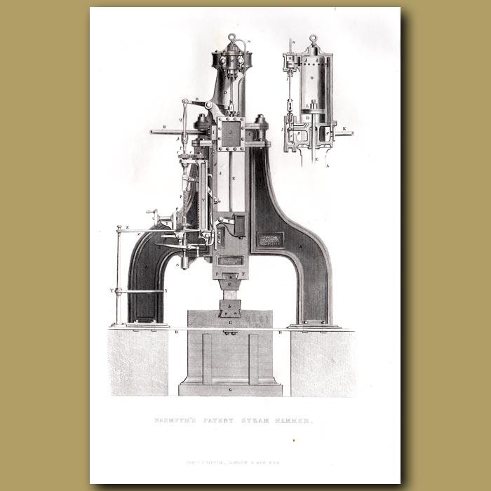 Antique print. Hasmyth's Patent Steam Hammer