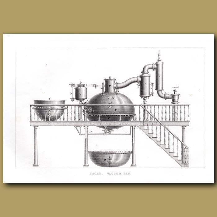 Antique print. Sugar. Vacuum Pan