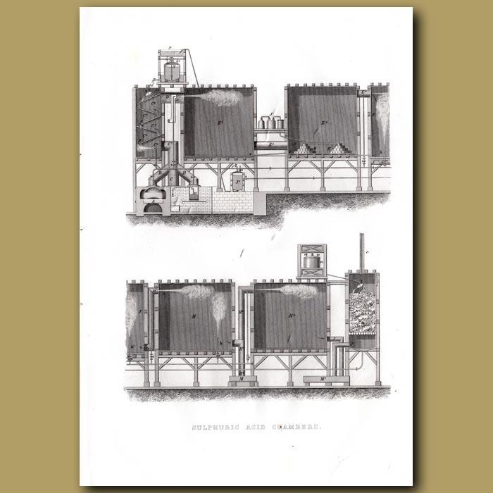 Antique print. Sulphuric Acid Chambers