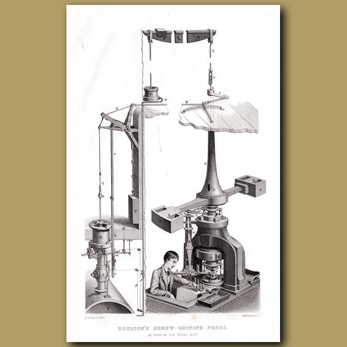 Antique print. Boulton's Screw Coining Press