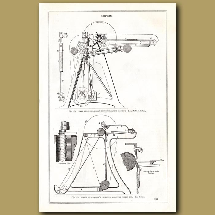 Antique print. Dobson And Barlow's Improved Macarthy Cotton Gin