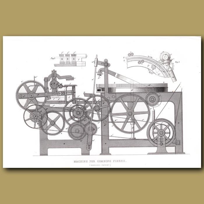 Antique print. Machine For Combing Fibres
