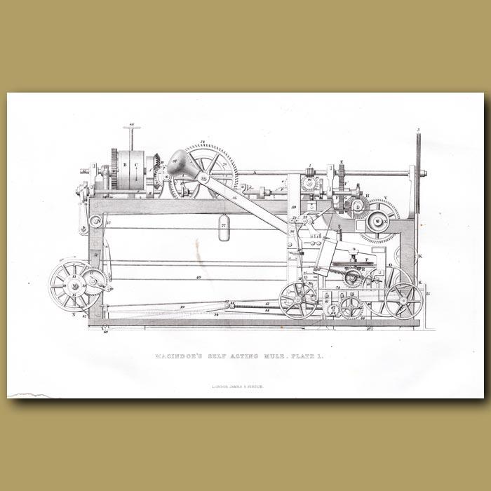 Antique print. Cotton Machine. Macindoe's Self Acting Mule. Plate 1