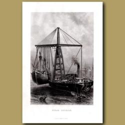 Crane On Boat. Steam Derrick