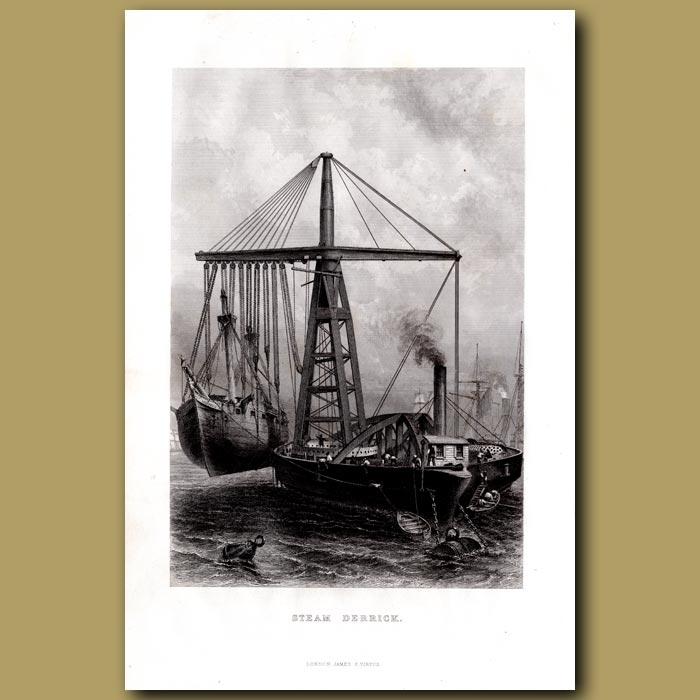 Antique print. Crane On Boat. Steam Derrick