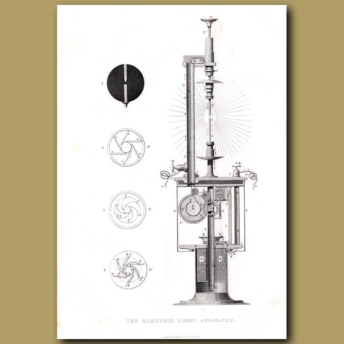 Antique print. The Electric Light Apparatus