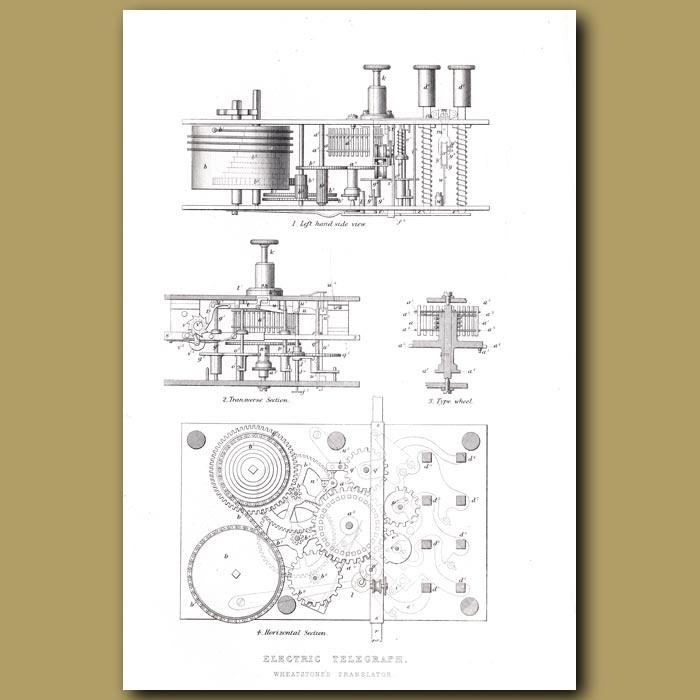 Antique print. Electric Telegraph. Wheatstone's Translator