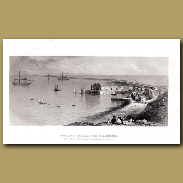 Antique print. Portland Harbour And Breakwater