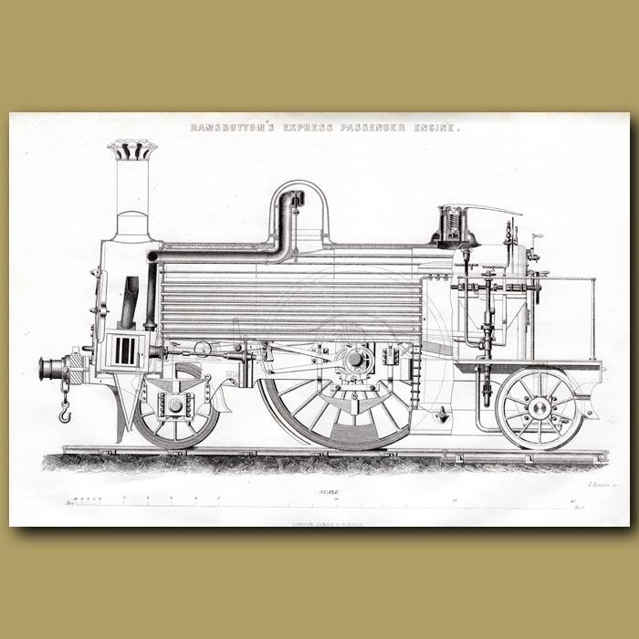 Antique print. Train Engine. Ramsbottom's Express Passenger Engine