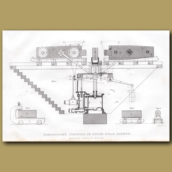 Antique print. Ramsbottom's Compound Or Duplex Steam Hammer