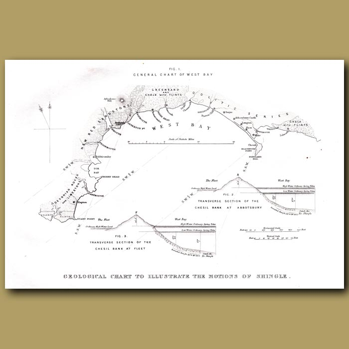 Antique print. Geological Chart To Illustrate The Movement Of Shingle