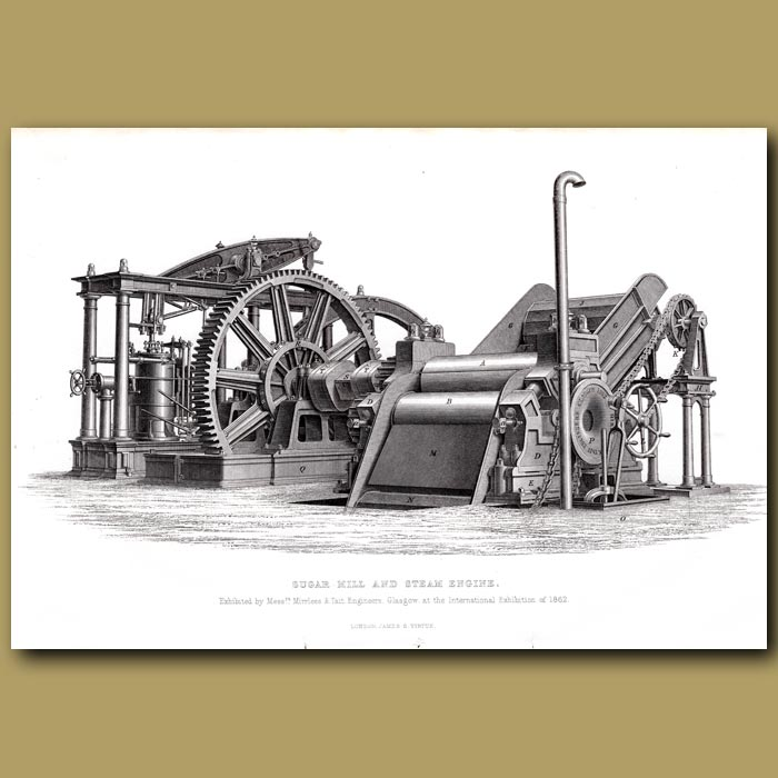 Antique print. Sugar Mill And Steam Engines