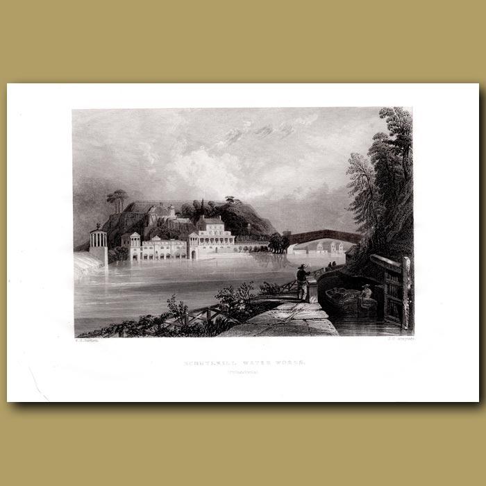 Antique print. Schuymill Waterworks (Philadelphia)