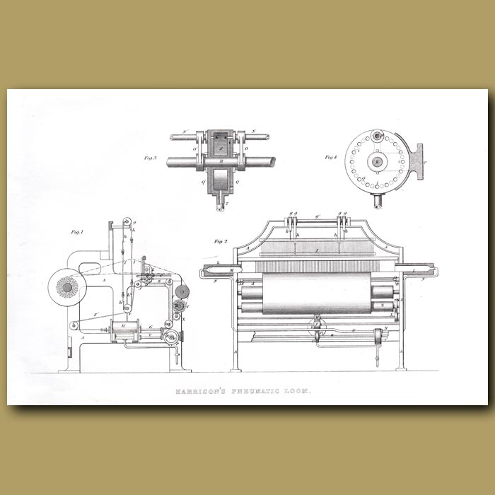 Antique print. Harrison's Pneumatic Loom