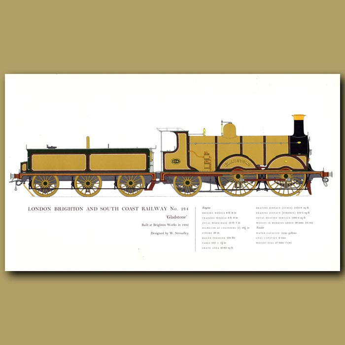 Antique print. London Brighton and South Coast Railway No. 214 Train