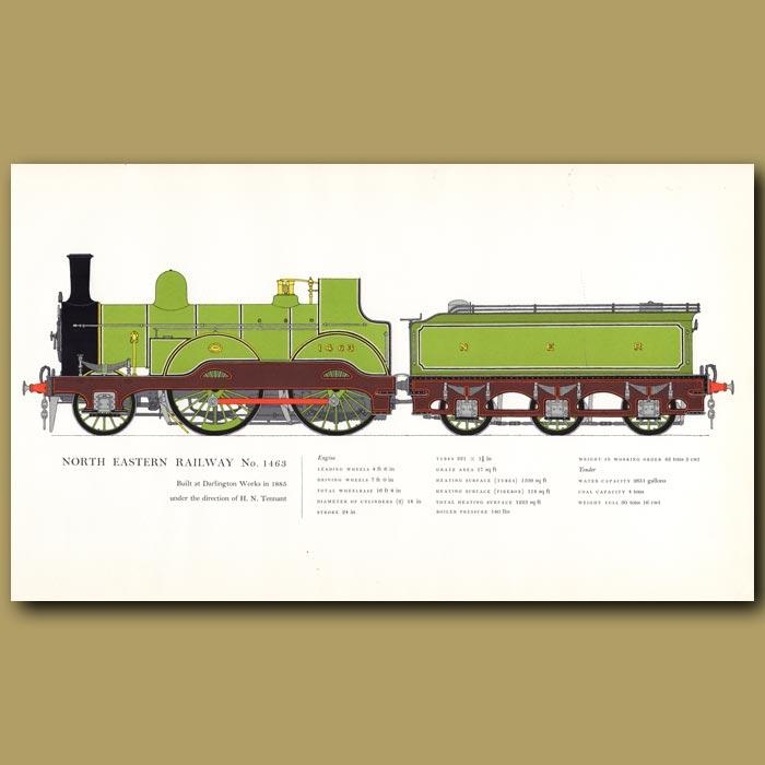 Antique print. North Eastern Railway No.1463 Train