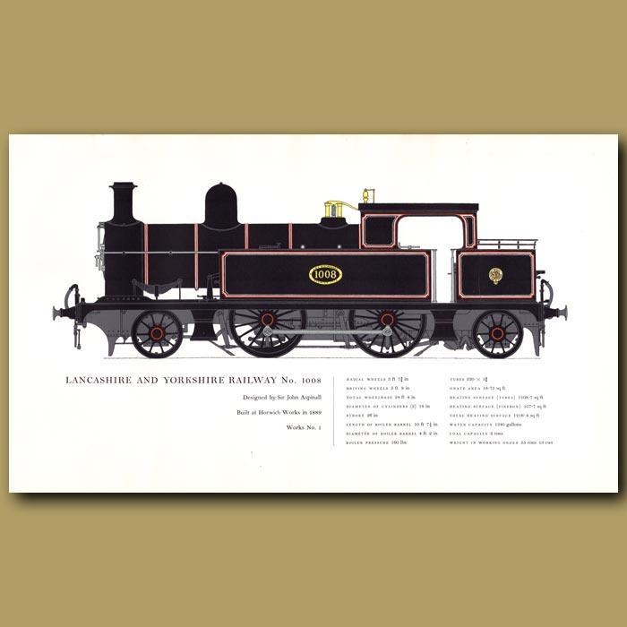 Antique print. Lancashire and Yorkshire Railway No. 1008 Train
