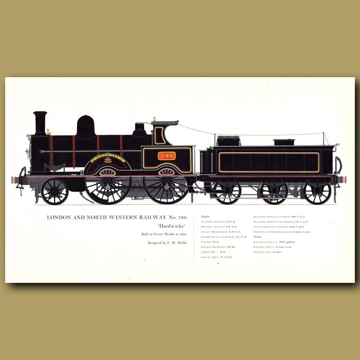 Antique print. London and Northwestern Railway No. 790 Train