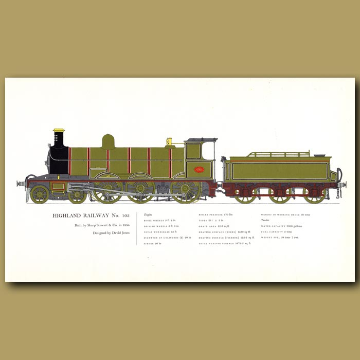 Antique print. Highland Railway No.103 Train