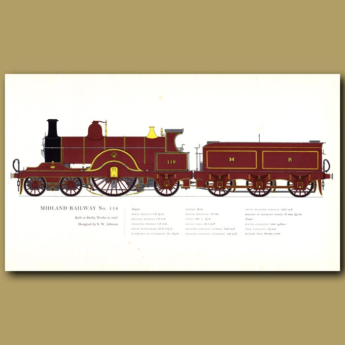 Antique print. Midland Railway No.118 Train