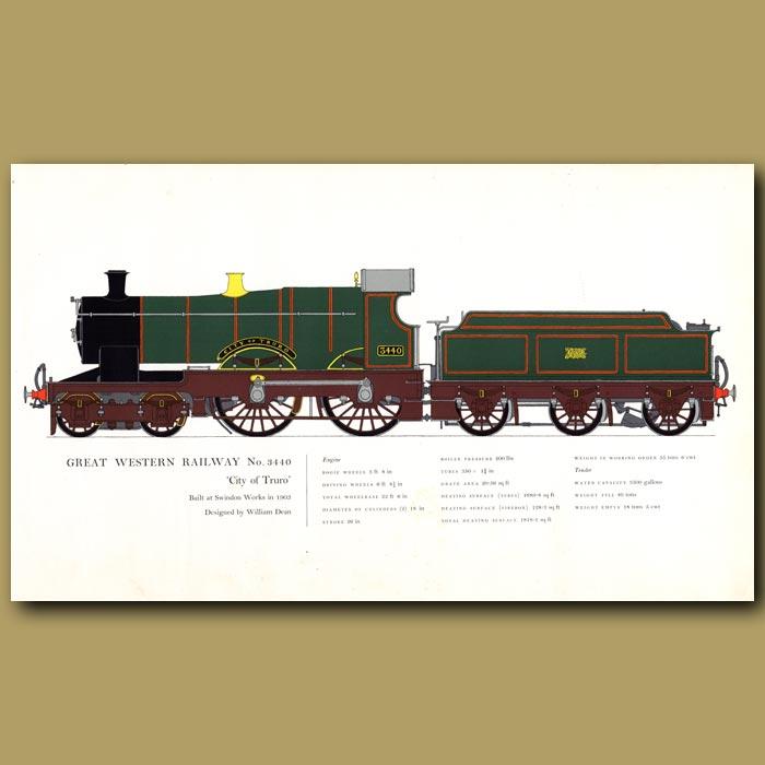 Antique print. Great Western Railway No.3440 Train
