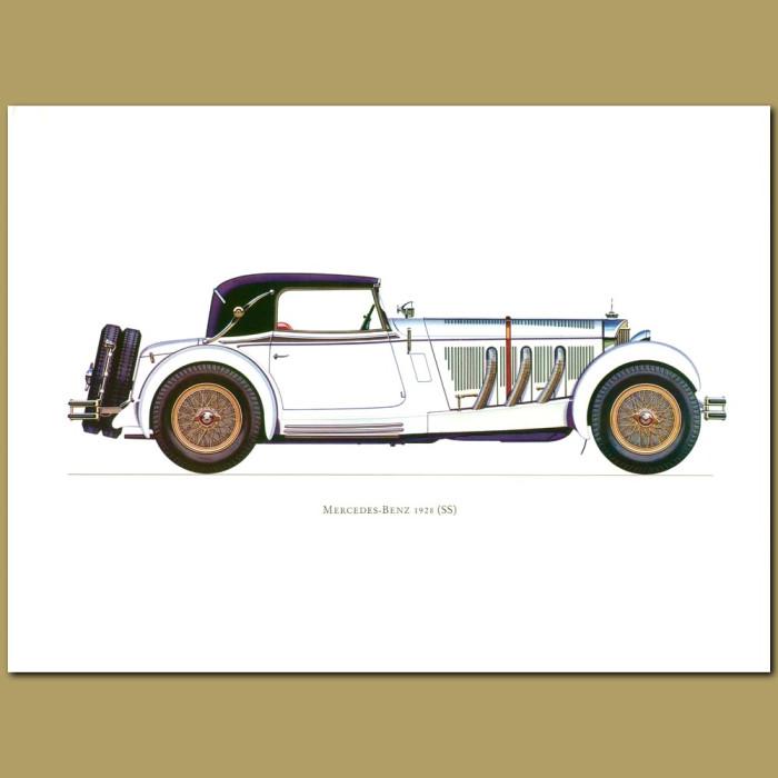 Vintage car print. Mercedes-Benz 1928 Ss