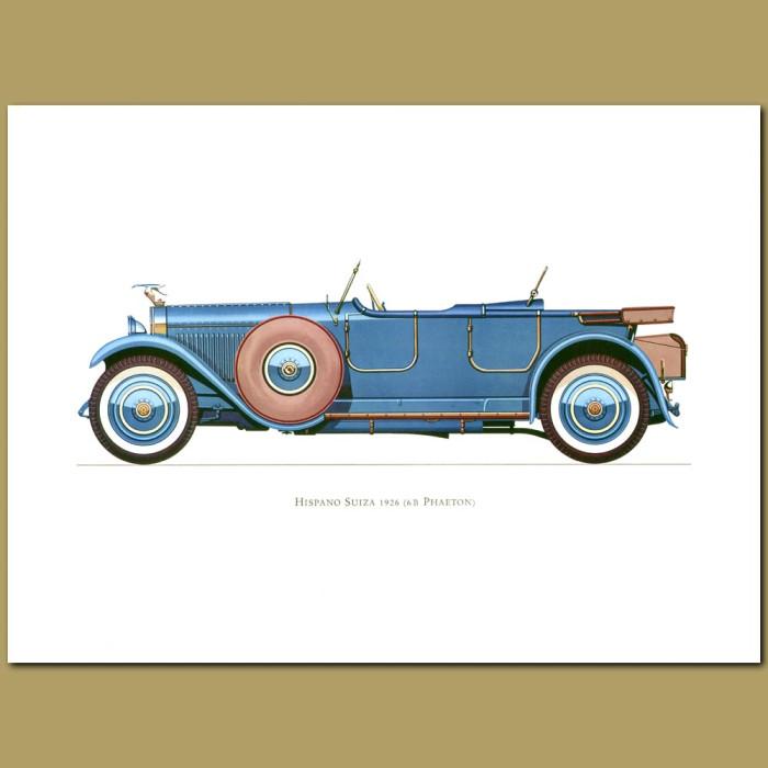 Vintage car print. Hispano Suiza 1926 6b Phaeton