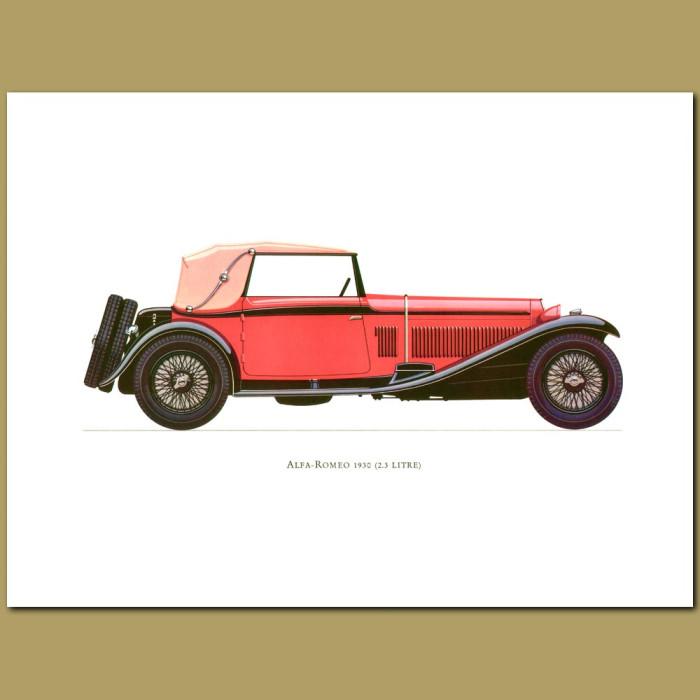 Vintage car print. Alfa-Romeo 1930 2.3 Litre
